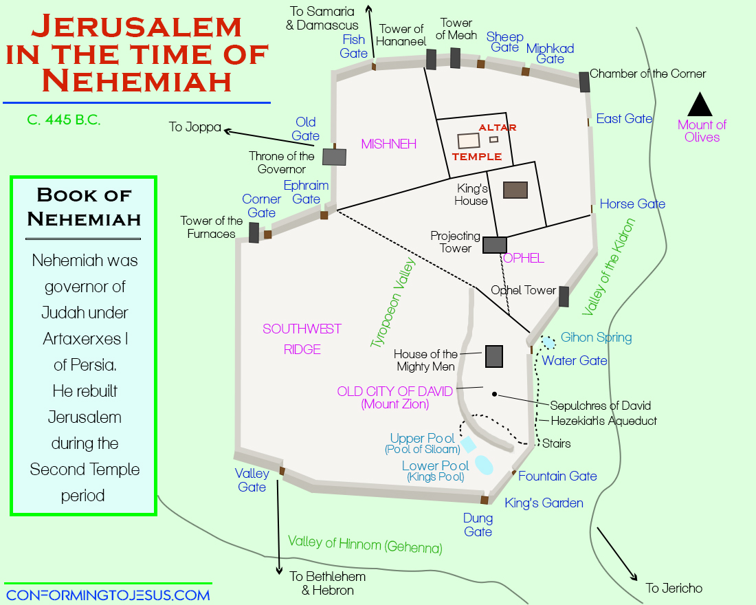 Jerusalem In The Time Of Nehemiah Map