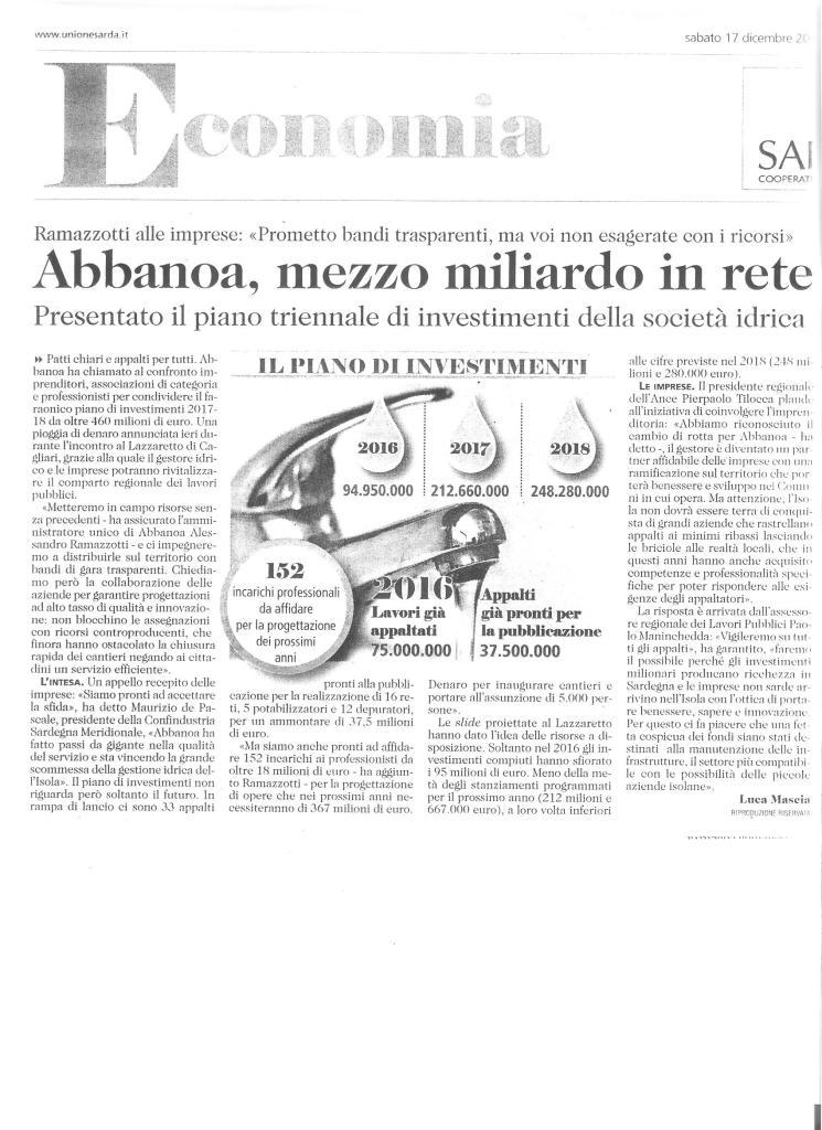 Articolo Abbanoa L'Unione Sarda 17/12/2016