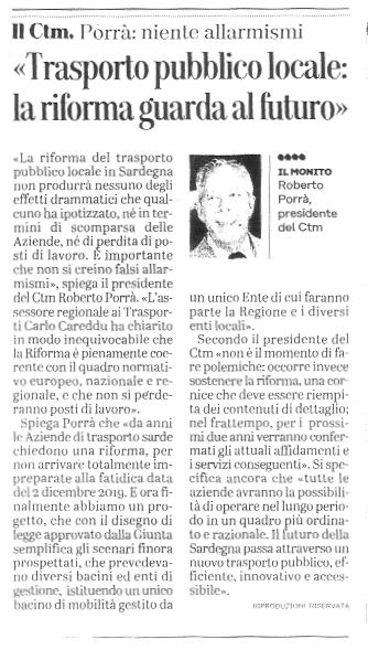 """Articolo Unione Sarda 18/12/2018 - """"trasporto pubblico locale: la riforma guarda al futuro"""""""