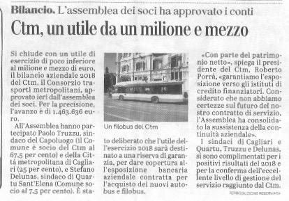 Articolo su bilancio CTM - L'Unione Sarda 29/06/2019