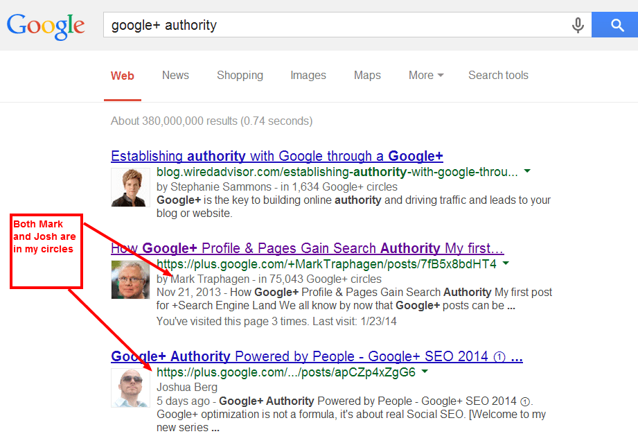 Google Personalized Search Results