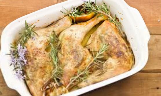 Pollo a la manteca de romero