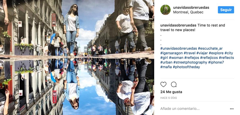 Fotografia ganadora de UnaVidaSobreRuedas en Instagram en el programa de radio Escuchate de AragonRadio