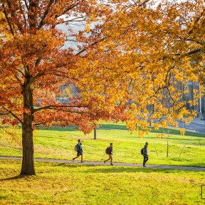 Students walking on campus at Cornell University in Ithaca