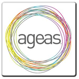 A square tile bearing the company logo of Ageas