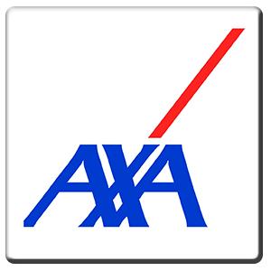 A square tile bearing the company logo of Axa