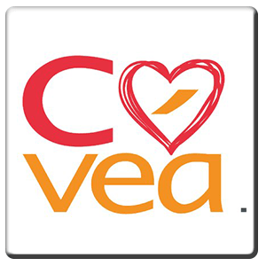 A square tile bearing the company logo of Covea