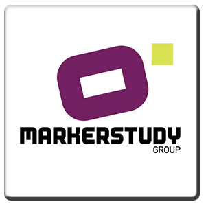 A square tile bearing the company logo of Markerstudy