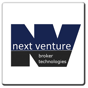 A square tile bearing the company logo of Next Venture