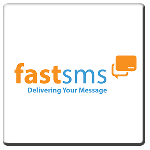 A square tile bearing the company logo of FastSMS