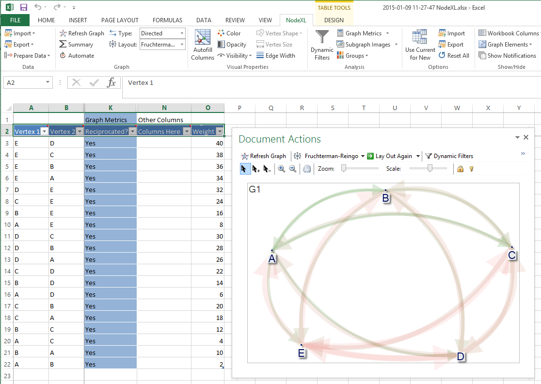How To Import Matrix Data Into Nodexl Connected Action