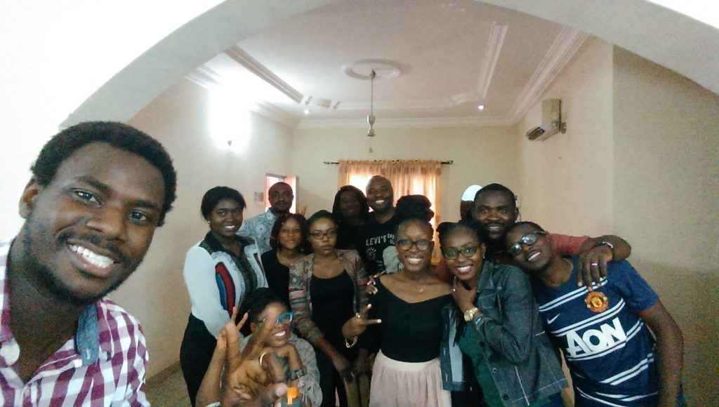 From left, Oludotun Babayemi, Nkem and the BBC Media Action Writers