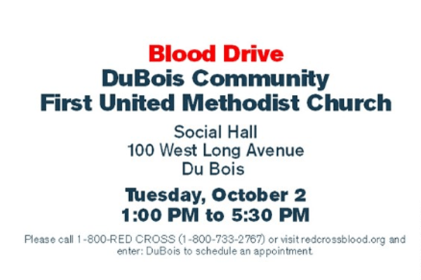 Blood Drive Oct 2 DuBois FUMC