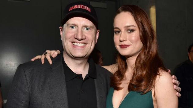 """(L-R) Kevin Feige, """"Captain Marvel"""" star Brie Larson/Marvel Studios"""