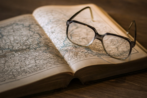 book map glasses