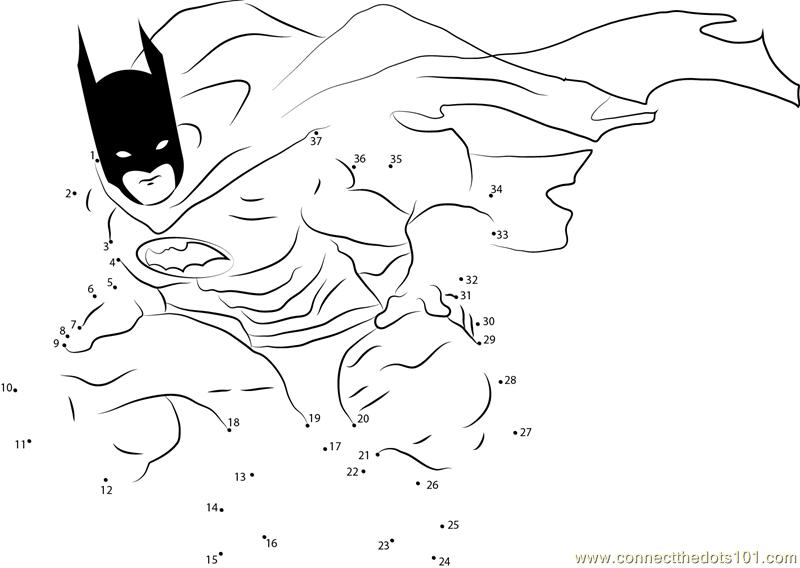 Batman Finished Dot To Dot Printable Worksheet