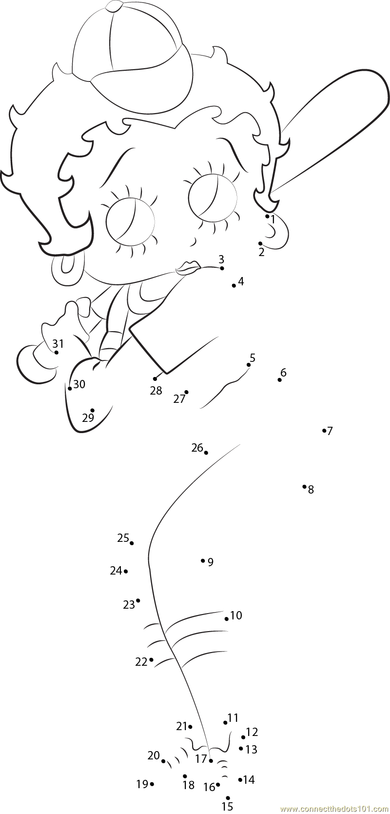 Betty Boop Playing Baseball Dot To Dot Printable Worksheet