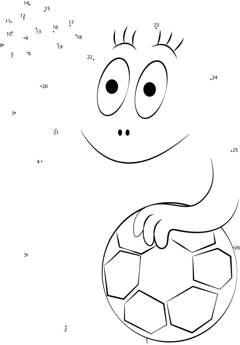 Barbapapa The Football Player Dot To Dot Printable