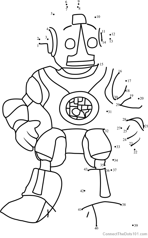 Robot Roscoe Dot To Dot Printable Worksheet Connect The Dots