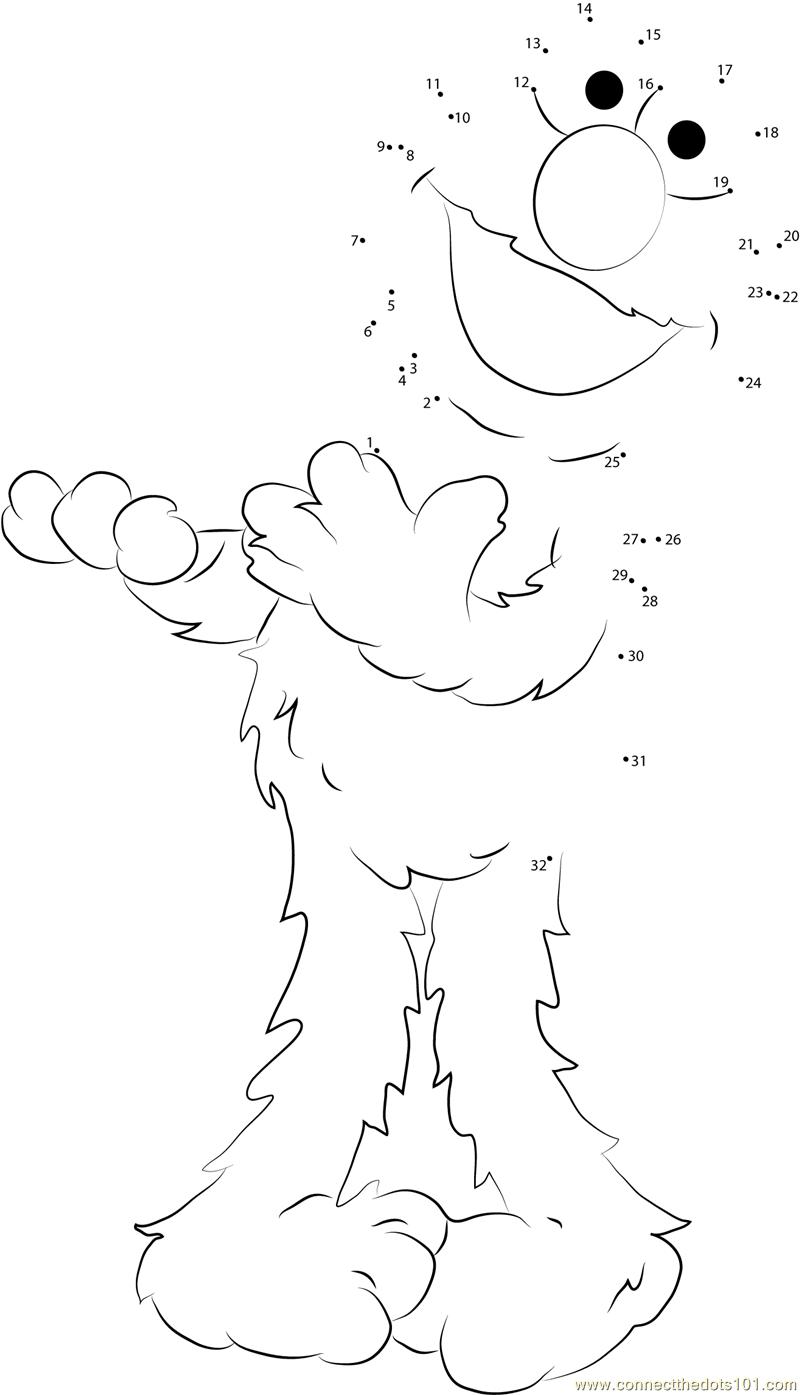 Elmo Having Fun Dot To Dot Printable Worksheet