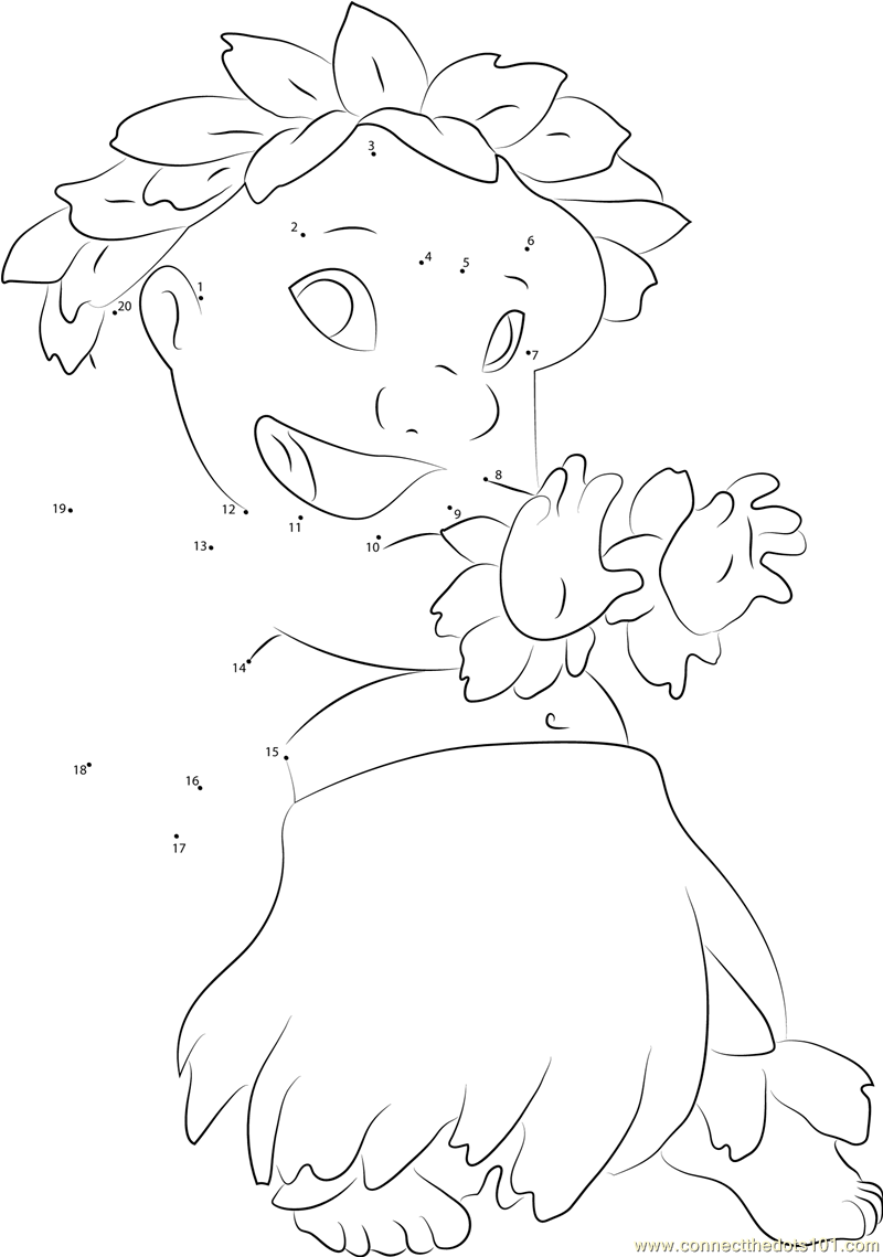Lilo Dancing Dot To Dot Printable Worksheet Connect The Dots