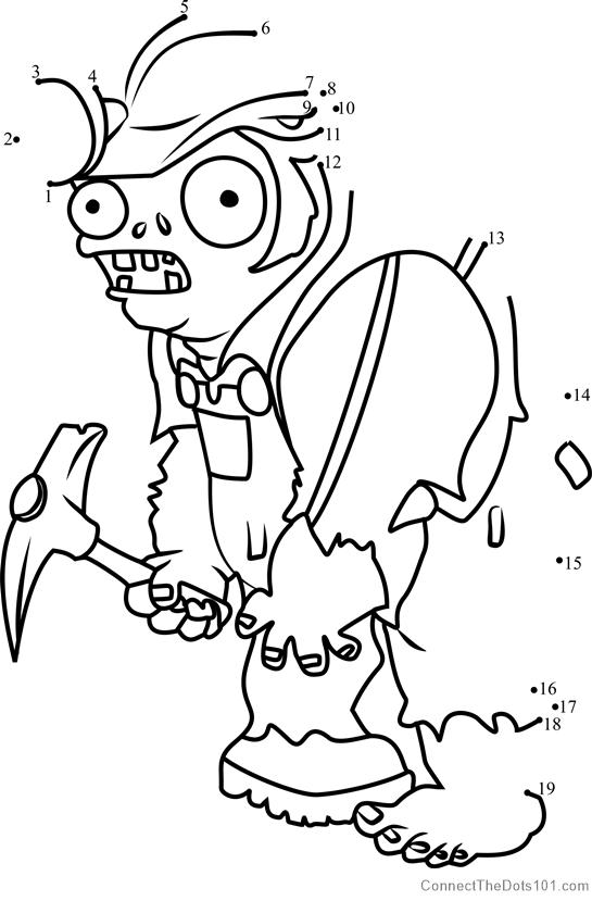 Digger Zombie Dot To Dot Printable Worksheet