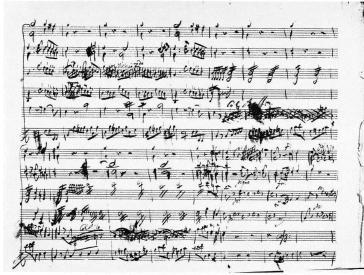 Manoscritto della Sinfonia in mi bemolle K16