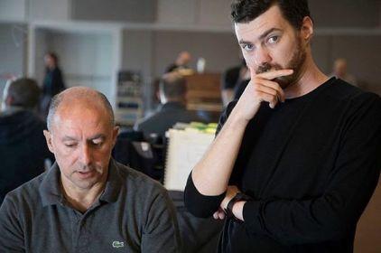 Vittorio Montalti con Marco Angius durante le prove di Ehi Gio' al Teatro del Maggio