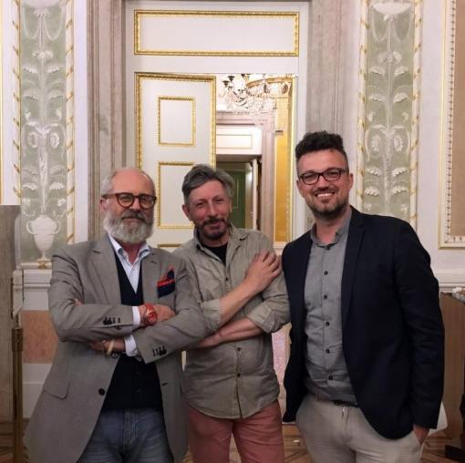 Andrea Castello con Bepi Morassi e Carlos Tieppo