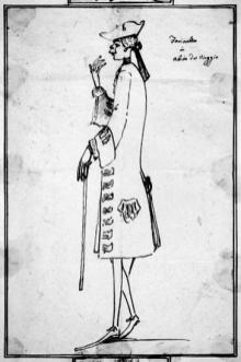 Anton Maria Zanetti, Caricatura di Carlo Broschi detto Farinelli in abito da viaggio