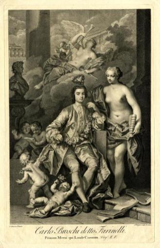 Farinelli in un'acquaforte eseguita da un dipinto di Jacopo Amiconi