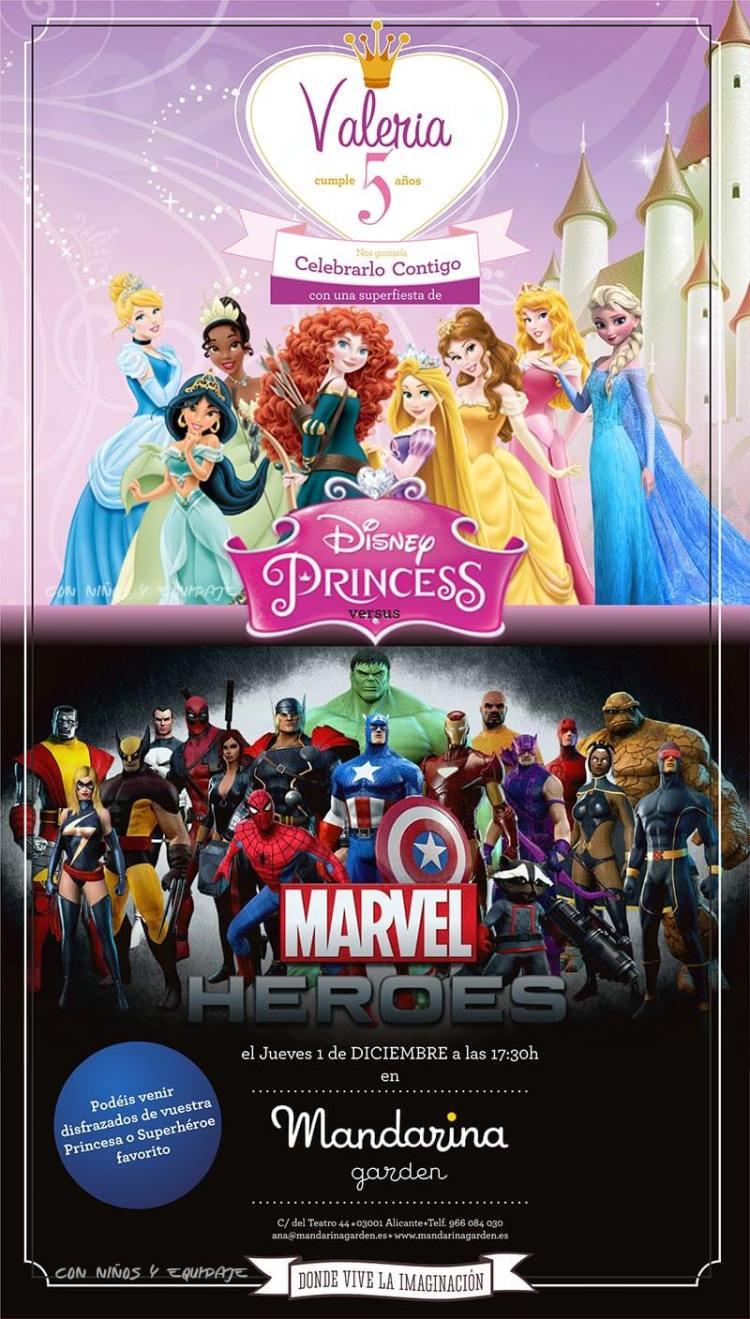 invitación de cumpleaños princesas y súper héroes