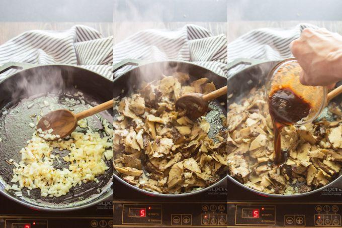 Collage Showing the Steps for Cooking Vegan Reuben Sandwich Filling