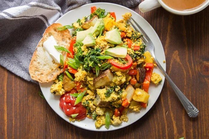 Tofu Scramble on a Plate with Toast and Avocado