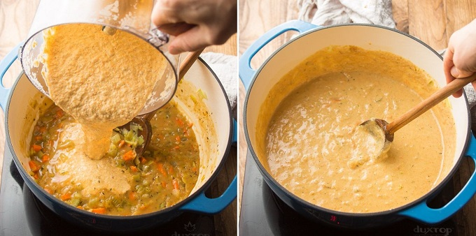 Collage Showing Steps 9 and 10 of How to Make Vegan Beer Cheese Soup: Add Cashew Mixture and Simmer