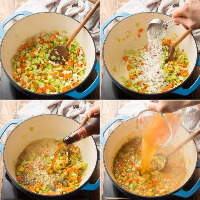 Collage Showing Steps 1-4 of How to Make Vegan Beer Cheese Soup: Cook Vegetables, Add Flour, Add Beer and Add Broth
