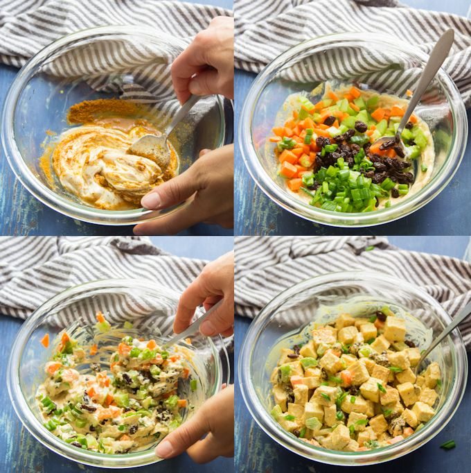 Collage Showing Steps for Making Curried Tofu Salad Wraps: Mix Dressing, Add Veggies, Stir, and Add Tofu