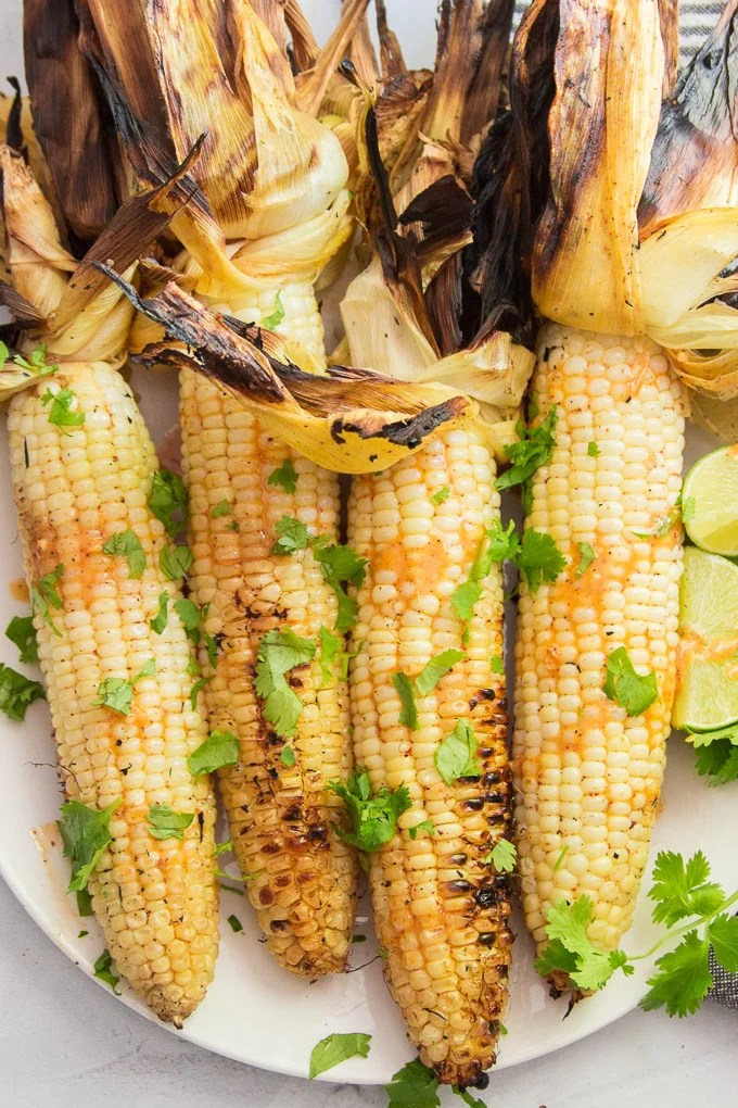 Mexican Grilled Street Corn on a Plate with Sauce and Fresh Cilantro