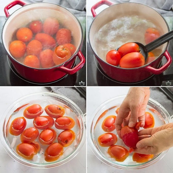 Collage Showing Steps for Peeling Tomatoes: Blanch Tomatoes in Boiling Water, Remove From Water, Transfer to Ice Water Bath and Peel By Hand