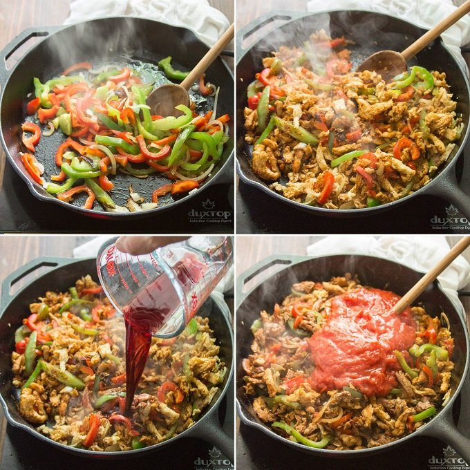 Collage Showing Steps for Cooking Vegan Ropa Vieja: Cook Peppers and Onions, Add Soy Curls, Add Wine and Add Tomatoes