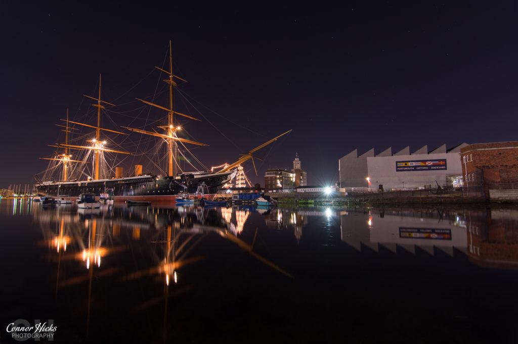 Portsmouth Historic Dockyard HMS Warrior Night Photography 1024x681 Travel