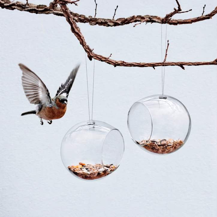 Birdhouses Glass Feeder Birdseed Postmodern Yard Garden Mid-Century Contemporary Bird Minimalist Danish Design