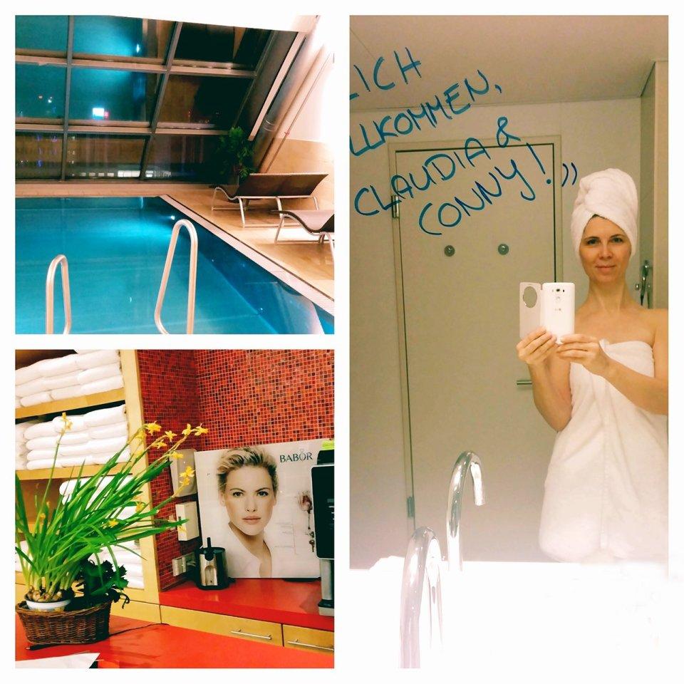 Collage-Ausschnitt Swimmingpool und Heavenspa, Willkommensnachricht am Siegel