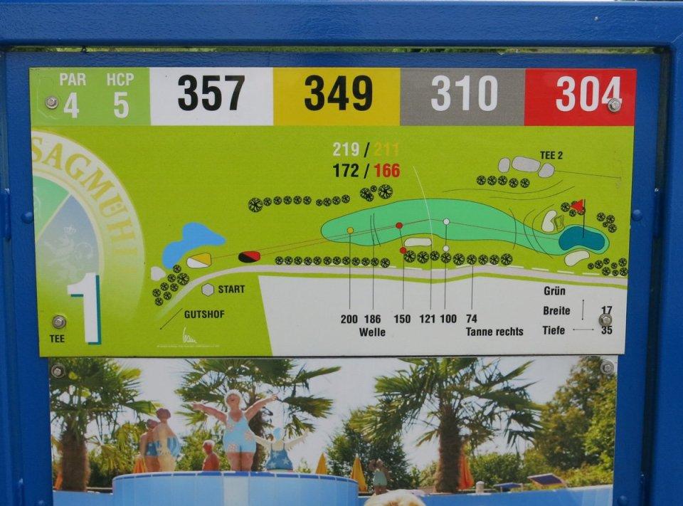 Golfclub Sagmühle, Conny Doll spielt Golf, Tee 1, 1. Abschlag