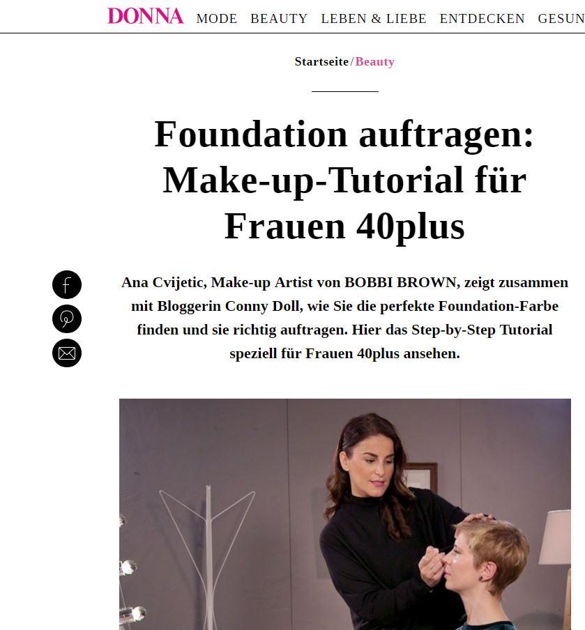 Screenshot, Online-Seite, DONNA, BOBBI BROWN, Make-up-Tutorial, Foundation