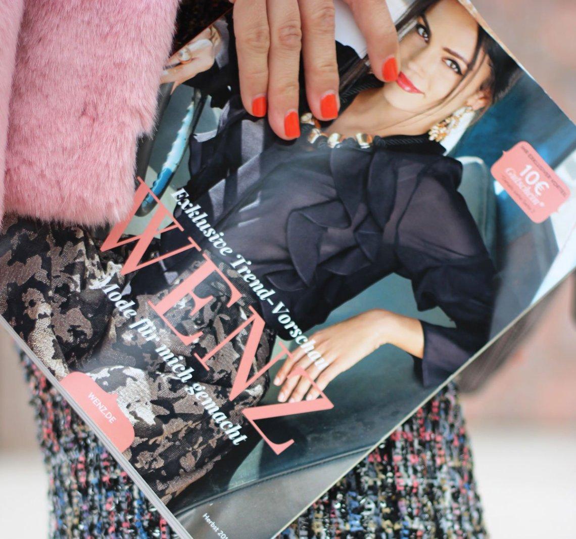 Conny Doll Lifestyle: WENZ, Herbstkollektion 2018 mit Amy Vermont, Kostüm, Chanelstil, Gehrock, schick, casual, Pumps, Sneaker, Business, Freizeit, Details, Katalog