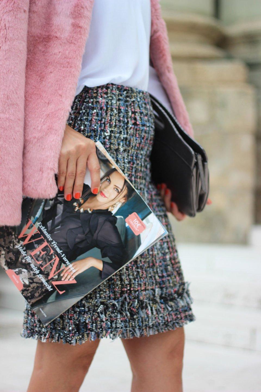Conny Doll Lifestyle: WENZ, Herbstkollektion 2018 mit Amy Vermont, Kostüm, Chanelstil, Gehrock, schick, casual, Pumps, Sneaker, Business, Freizeit, Details