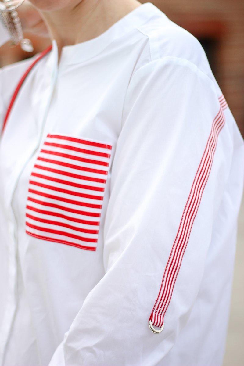 conny doll lifestyle: TONI Fashion, weiße Bluse mit roten Details