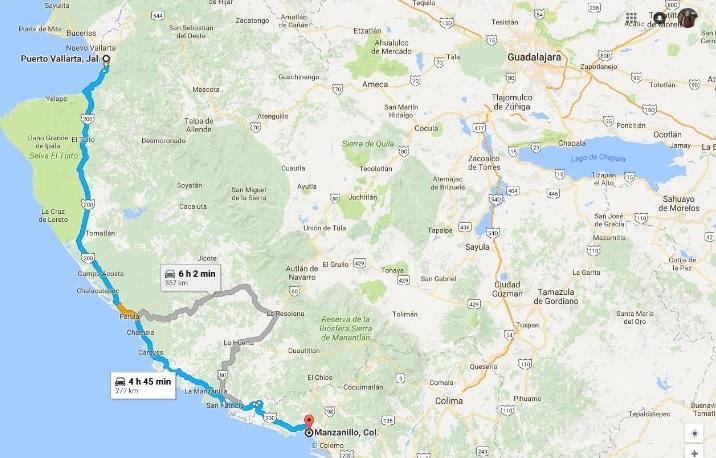 como llegar de Vallarta a Manzanillo