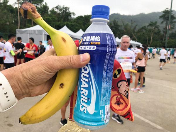 バナナとスポーツドリンク